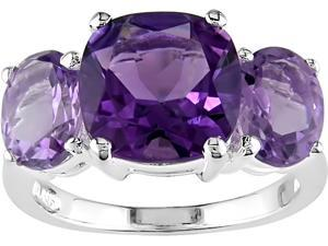 Sterling Silver Amethyst and Rose de France 3-Stone Ring