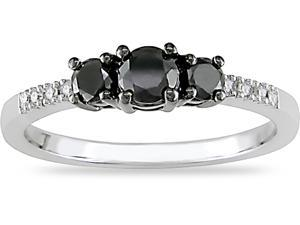 10K Gold 1/2ct TDW Black and White Diamond Ring