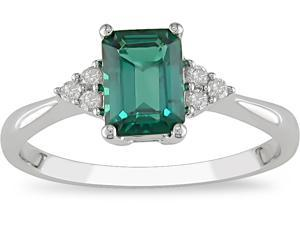 10k Gold Emerald and 1/10ct TDW Diamond Ring