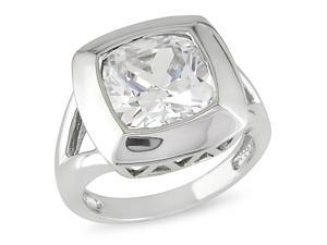 Silver 6 1/2ct TGW cushion crystal 12X12mm ring