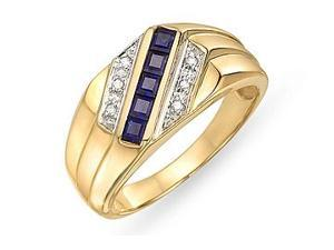 10K Yellow Gold Diamond and Sapphire Men's Ring