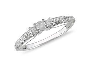 1/2 ct.t.w. Three-Stone Diamond Ring in 10k White Gold, I2-I3, G-H-I