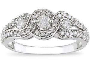 14K White Gold 1/2 ctw Diamond Three-Stone Ring H-I-J,I2-I3