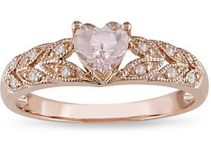 10k Pink Gold .06ct TDW Diamond and Morganite Ring