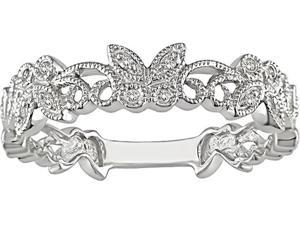 10k White Gold Diamond Filigree Butterfly Ring