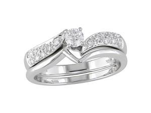14K White Gold 1/3 ctw Diamond Wedding Ring Set