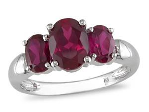 Sterling Silver Created Ruby 3-stone Ring