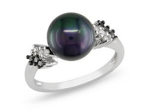 Sterling Silver Black Pearl and 1/8ct TDW Ring