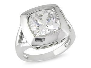 Silver 6 1/2ct TGW cushion crystal 12X12mm ring