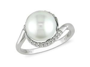 Sterling Silver FW Pearl 1/10ct TDW Diamond Ring
