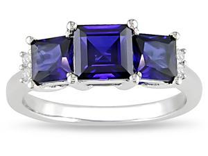 10k  2-1/5ct Sapphire and .04ct TDW Diamond Ring