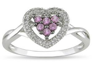 10k Gold Pink Sapphire and Diamond Accent Ring