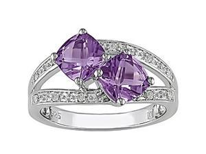 Amethyst and Diamond Accent Ring in Silver