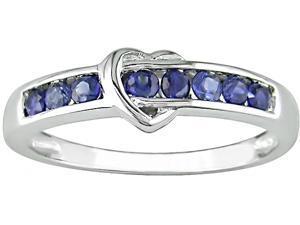 10K White Gold Sapphire Heart Ring