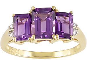 10K Yellow Gold .02 ctw Diamond and Amethyst Ring