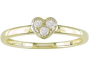 10K Yellow Gold 1/10 ctw Diamond Heart Ring
