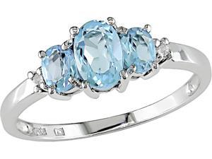 10K White Gold .02 ctw Diamond and Blue Topaz 3-Stone Ring