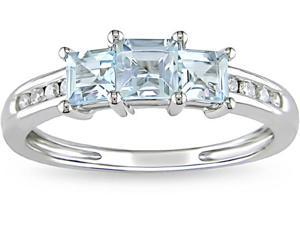 10k Gold Aquamarine and 1/10ct TDW Diamond Ring