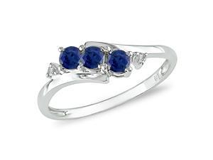 10K White Gold .018 ctw Diamond and Created Sapphire Ring, I-J,I2-I3