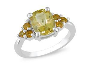 Sterling silver cushion and Rd citrine ring.  (1 4/5ct TGW)