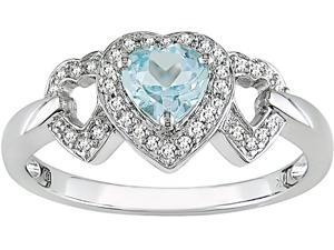 10K White Gold 1/6 ctw Diamond and Blue Topaz 3-Heart Ring