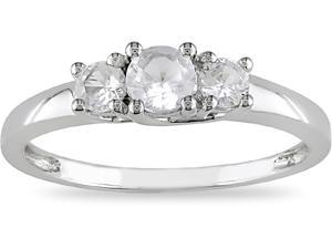 10k White Gold 3/5 Carat Created White Sapphire Three Stone Engagement Ring