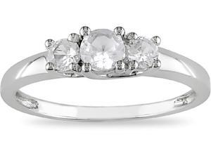 10k White Gold 3/5 Carat Created White Sapphire Three Stone Enagagement Ring