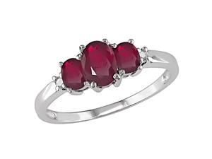 10K White Gold .02 ctw Diamond and 3-stone Oval Ruby Ring