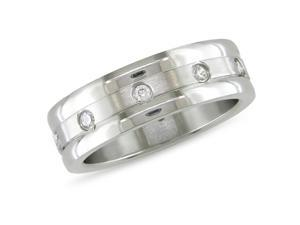 Stainless steel Ring with 2mm Rd C.Z.