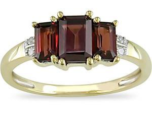 10K Gold Diamond 1-1/2ct TGW Garnet Ring