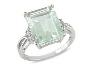 5-3/4 ct.t.w. Green Amethyst and White Topaz Ring in Silver
