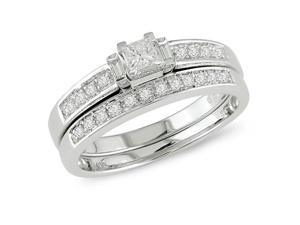 1/3 ct Diamond Bridal Ring Set in 10k White Gold, I2-I3, G-H-I