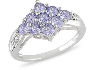 Sterling Silver 1ct TGW Tanzanite and Diamond Ring