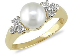 14k Cultured Pearl 1/5ct TDW Diamond Ring H-I, I1
