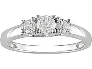 14K White Gold 1/2 Carat Diamond Three Stone Engagement Ring (J-K,I2-I3)
