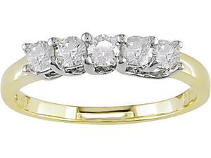 14K 2-Tone Gold 1/2 ctw Diamond 5-Stone Anniversary Ring