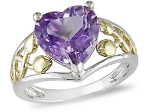 10K Gold Sterling Silver Heart Amethyst Ring