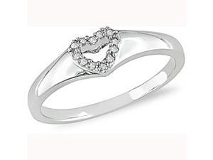 Diamond Accent Open Heart Ring in 10k White Gold
