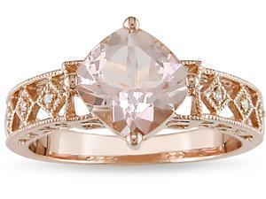 10k Pink Gold .02ct TDW Diamond and Morganite Ring