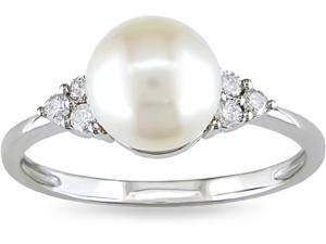 10k White Gold Pearl and 1/8ct TDW Diamond Ring