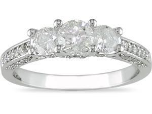 14K White Gold 1ct TDW Diamond 3 Stone Ring