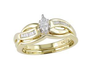 14K Yellow Gold 1/4 ctw Diamond Wedding Ring Set