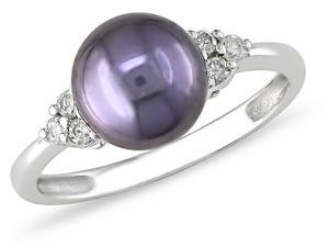 10k Gold 1/8ct TDW Diamond and Cultured Pearl Ring
