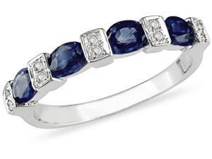 10K Gold Diamond Oval Sapphire Ring