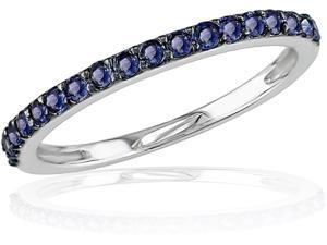 10K White Gold Sapphire Stackable Ring
