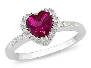 Sterling Silver Created Ruby/ 1/10ct TDW Diamond Ring