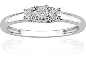 10K White Gold 1/4 ctw Diamond Three-Stone Engagement Ring I-J,I2-I3