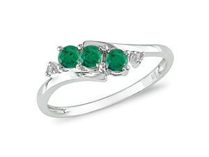 10K White Gold .018 ctw Diamond and Created Emerald Ring, I-J,I2-I3