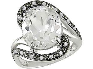 10K Gold 1/10ct TDW Diamond White Topaz Ring