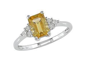 10K White Gold 1/10 Carat Diamond and 1 Carat Citrine Ring